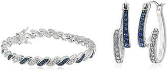 Swarovski Amazon Collection Sterling Silver Montana Blue and White Swirl Hoop Earrings Made with Crystal