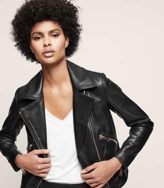 Reiss DREW Zip-up leather jacket