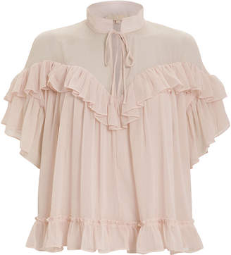 By Ti Mo Bytimo Tiered Swing Chiffon Blouse