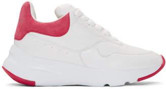 Alexander McQueen White and Pink Platform Running Sneakers