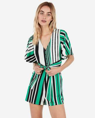 Express Striped Button Front Tie Romper