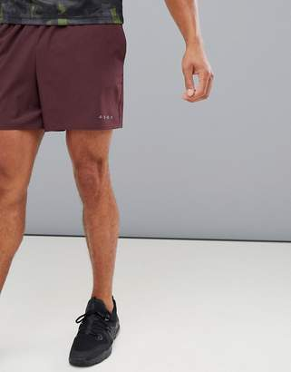 Asos 4505 training shorts in mid length with quick dry in burgundy
