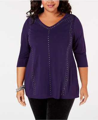 Belldini Plus Size Studded 3/4-Sleeve Top