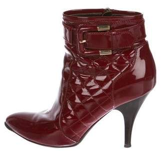 Burberry Quilted Patent Leather Ankle Boots