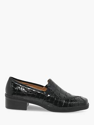 Gabor Frith Wide Fit Patent Leather Heeled Loafers, Black