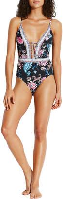 Seafolly Floral-Print Lace-Up One-Piece Swimsuit