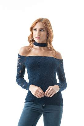 20ebc87f0cb Khanomak Long Sleeve Lace Crochet Off The Shoulder Choker Back Button  Keyhole Top