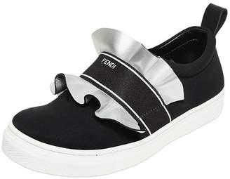 Fendi Neoprene & Leather Slip-On Sneakers