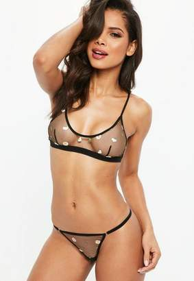 Missguided Daisy Embroidered Mesh Bralet