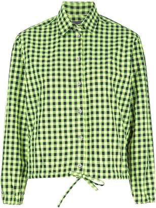 Harvey Faircloth checked tie-front shirt