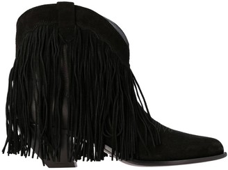 Golden Goose Flat Booties Texan Ankle Boot In Leather And Suede With Fringes
