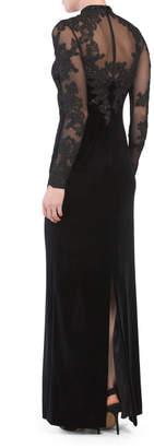 Lace Long Sleeve Velvet Gown