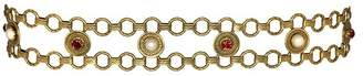 Kenneth Jay Lane Pearl And Ruby Rhinestone Belt