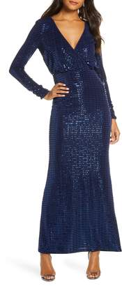 Vince Camuto Sequin Stripe Long Sleeve Gown