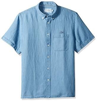 Lacoste Men's Short Sleeve Hawaii Collar Cotten/Linen Indigo Reg Fit Woven Shirt