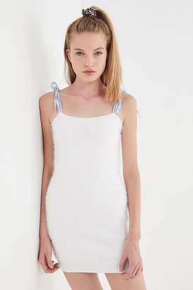 Urban Outfitters Faux Fur Tie-Shoulder Mini Dress
