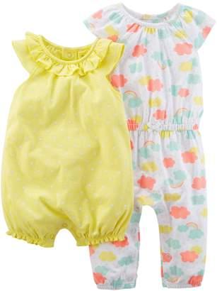 Carter's Baby Girl Cloud Jumpsuit & Polka-Dot Romper Set