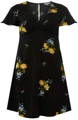 Dorothy Perkins Petite Black Floral Print Tea Fit And Flare Dress