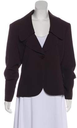 Ellen Tracy Round Collar Button-Up Blazer