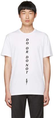 Neil Barrett White Do or Do Not T-Shirt