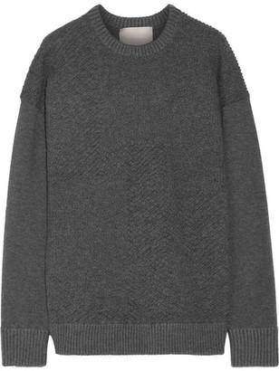 Jason Wu - Oversized Textured Stretch-knit Sweater - Gray $995 thestylecure.com
