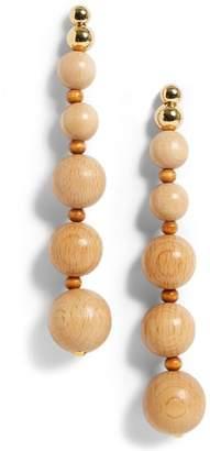 Cult Gaia Beaded Wooden Drop Earrings