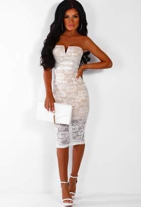5b85cc47c0466 Pink Boutique Bad Vibes White Lace Strapless Midi Dress