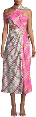 Prabal Gurung Asymmetric Plaid Combo Wrap Silk Dress w/ Attached Scarf