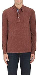 Faherty MEN'S HEATHERED COTTON-BLEND POLO SHIRT-WINE SIZE XS