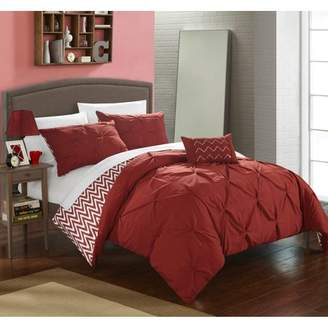 BEIGE Chic Home 8-Piece Erin Pinch Pleated, REVERSIBLE Chevron Print ruffled and pleated complete Full/Queen Bed In a Bag Comforter Set Brick With sheet set
