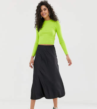 New Look Tall satin midi skirt in black