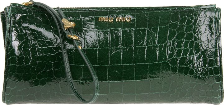 Miu Miu Croc Embossed Leather Clutch