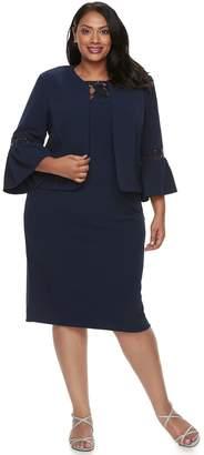 Plus Size Maya Brooke Bell Sleeve Jacket & Dress Set
