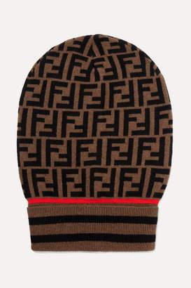 Fendi Intarsia Cashmere And Wool-blend Beanie - Brown