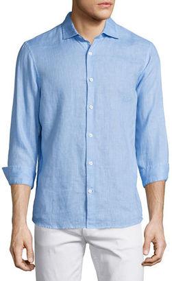 Michael Kors Linen Long-Sleeve Sport Shirt $145 thestylecure.com