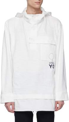 Y-3 Chest pocket layered hem Organic cotton hoodie