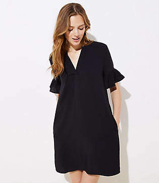 LOFT Petite Bell Cuff Split Neck Tunic Dress