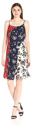 Vince Camuto Women's Wood Block Floral Colorblock Flare Dress