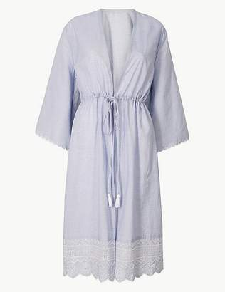 Marks and Spencer Pure Cotton Broderie Sleeve Dressing Gown