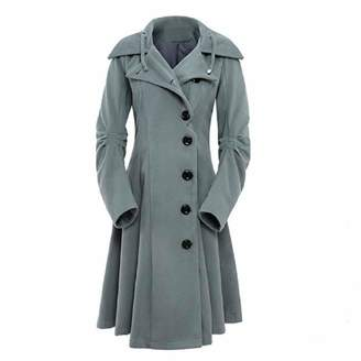 Bflive Women Hooded Button Closure Asymmetrical Hem Single Breasted Long Trench Swing Coat (4XL, )