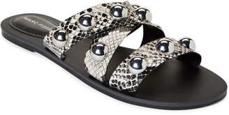 Marc Fisher Natural & Black Bryte Snakeskin-Effect Studded Slide Sandals