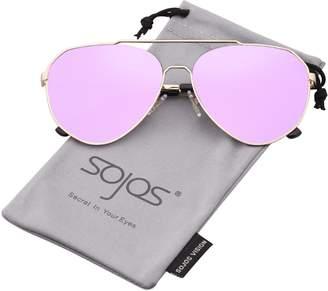 SOJOS Aviator Sunglasses Mirrored Flat Lens for Men Women UV400 SJ1083 with Gold Frame/Gradient Brown Lens