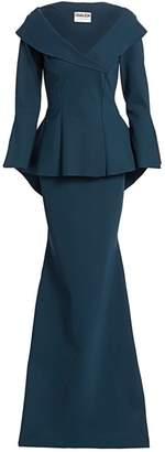 Chiara Boni Zoya Long Peplum Column Gown