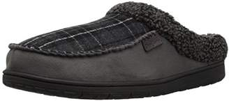 Dearfoams Men's Microsuede Moc Toe Clog Berber Cuff Wide Width Slipper