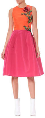 Carolina Herrera Sleeveless Colorblocked Fit-and-Flare Cocktail Dress w/ Floral-Embroidery