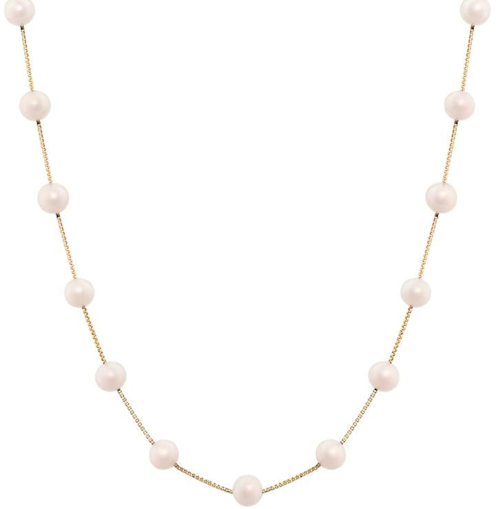 14k Gold Dyed Pink Freshwater Cultured Pearl Station Necklace