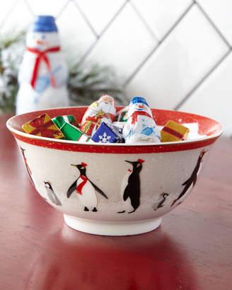 Portmeirion Sara Miller Red Penguins Holiday Bowls, Set of 4