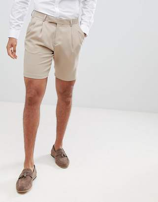 Asos DESIGN crepe pleat front tapered smart short in tan