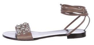 Michael Kors Studded Leather Wrap-Tie Sandals
