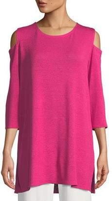 Caroline Rose Gauze Knit Cold-Shoulder Tunic, Petite